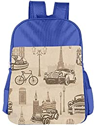 Retro Cars Children School Backpack Carry Bag For Youth Boys Girl
