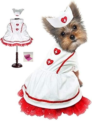 Puppe Love Classic Sweetheart Krankenschwester-Uniform und Hut Kostüm mit Krankenschwesterhut Charm Zubehör - in Hundegrößen XS bis L (Krankenschwester Pet Kostüme)