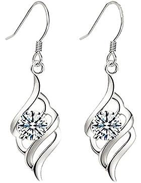 Gratis Geschenk-Box Engel Feder Ohrringe Drops Silber Farbe 18K Weiß Gold vergoldet Cubic Zirkonia Diamant Set...
