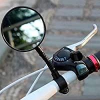Murphytonerty 1 Pcs Rearview Mirror Bicycle Safe Adjustable Rotatable Handlebar Glass Mirror for Bike Black