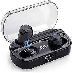 Yacikos Écouteur Bluetooth sans Fil, Oreillette Bluetooth 5.0 Sport [Dernier LCD Écran] 3500mAh Boîte de Charge Automatique 120H Écouteur Smart Antibruit Étanche IPX7 Casque Stéréo pour iOS Android