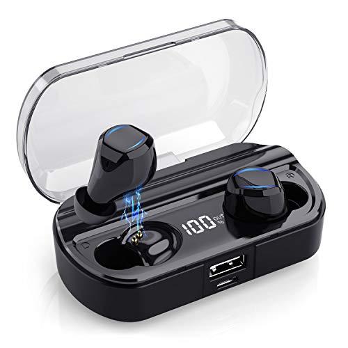 Yacikos Écouteur Bluetooth sans Fil, Oreillette Bluetooth Sport [Dernier LCD Écran] 3500mAh Boîte de Charge 120H Playtime Écouteur Smart Antibruit CVC 8.0 Étanche IPX7 Casque Stéréo pour iOS Android