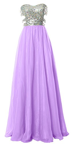MACloth Fitted Sweetheart Long Cutout Sequin Prom Evening Dress Formal Ball Gown Lavendel