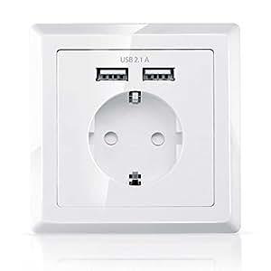 UMOI iUSB USB Steckdose, Wandsteckdose Unterputz mit 2 x USB-Port | 2100mA Ausgangsstorm (USB) | 220V / 230V / 240V / 250V | integrierte Kindersicherung (Weiß)