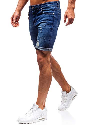 BOLF Herren Hose Kurzehose Jeans Clubwear Denim Street Style täglicher Stil The Gangster 1060 Dunkelblau L [7G7] - Hosen-stil Jeans