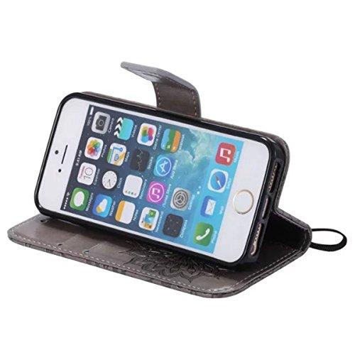 iPhone 5S Étui en cuir, iPhone 5 Étui portefeuille, Lifetrut [Tournesol gaufré] Portefeuille en cuir Flip Folio Design Flip Coque Couverture pour iPhone 5S 5 SE [Bleu] E203-Gris