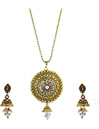 Zeneme Round Shape Designer Kundan Pendant Set With Chain And Earrings For Girls And Women