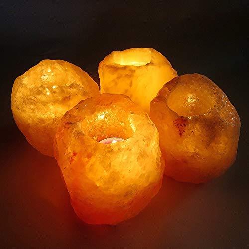 Klass home collection® - portacandele per candele, set da 1, 2 o 4, 100% sale dell'himalaya importato dal pakistan (set da 4), cristallo, rosa caldo e arancione