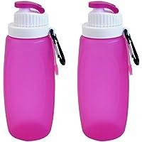 YF-36 12 ml de silicona plegable botella de agua (2 unidades) cantimplora con mosquetón para acampada plegable.