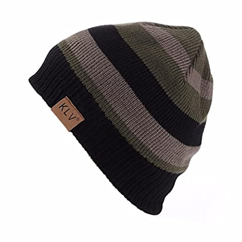 Beanie hat hipster Men Women striped thin Unisex Patchwork Crochet Winter Wool Knit Skull Slouchy Caps Hat Casual (Army Green,