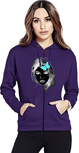 Girl With Butterfly Womens Zipper Hoodie X-Large -