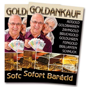 Amitola 2 x Goldankauf Juwelier Schmuck Poster Plakat A1 Kundenstopper (SK-Folie)