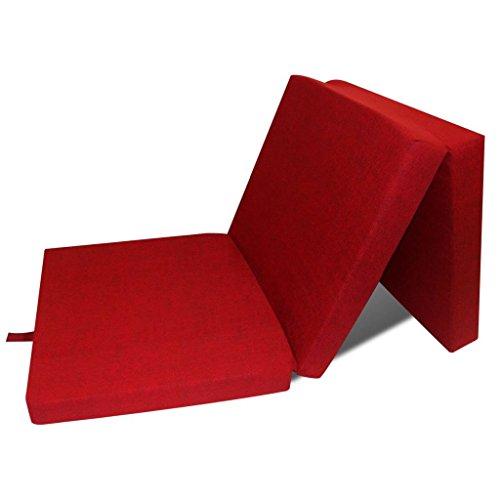 vidaXL Colchón Plegable de Espuma Rojo Cama de Invitados Colchoneta de Camping