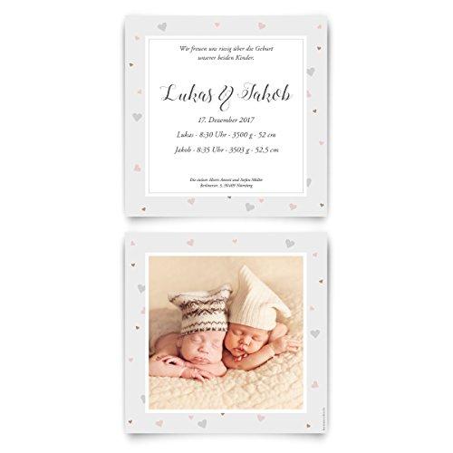Geburtskarten (10 Stück) - Zwillinge mit Herzrahmen - Geburt Babykarten Zwillingskarten Foto Karten