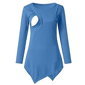 STRIR-Camisetas-Mujer-Manga-Larga-Lactancia-Maternidad-Enfermeria-CamisasCamiseta-de-Mujer-Maternidad-de-Doble-Capa-premam-Lactancia-Blusa-de-Manga-Larga-Lactancia-Top-XL-Azul