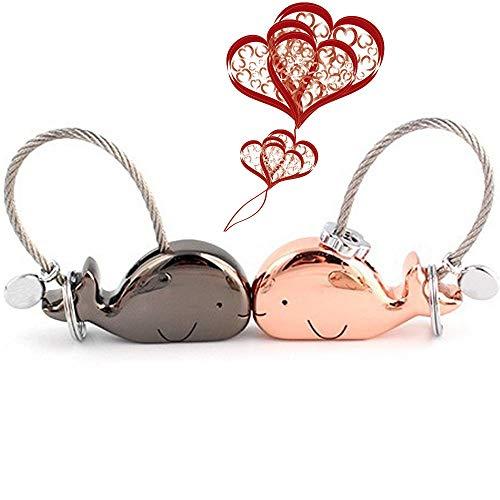 Topeedy Liebhaber schlüsselanhänger 1 Paar küssen Wal schlüssel Anhänger mit magnetischen Mund Zink Legierung Schlüsselbund Geschenk für Valentines, Weihnachten, Freundin, Rotgold und glänzend schwarz - Anhänger Magnetische