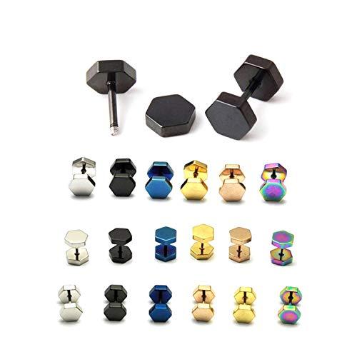 Daawqee Lusso Orecchini, Double Hexagon Studs Earrings Men Punk Ear Piercing Earrings Stud Jewelry Stainless Steel Earring Stud For Women Fashion Gift Width 7mm Gold