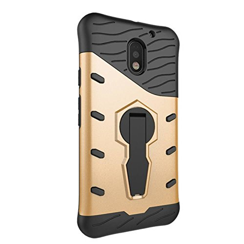 Für Moto E3 & E3 Power Case Neue Rüstung Tough Style Hybrid Dual Layer Rüstung Defender Soft TPU / PC Rückseitige Abdeckung Fall mit 360 ° Stand [Shockproof Case] ( Color : Gold ) Gold