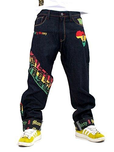 Sucio Dinero One Love Rasta Jeans DM # 00656 Raw Indigo Denim XXXL
