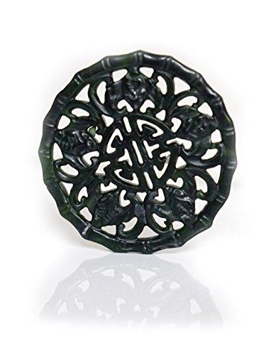 SPIRIT OF AVALON - Anhänger-Amulett Glück aus grün schwarzer Jade/Jadeit - Meditation Yoga Spiritualität Esoterik