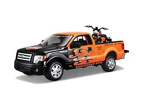 2010 Ford F-150 STX Pickup 1/27 Orange with Flames & 2007 XL1200N Nightster Harley Davidson 1/24 Scale by Maisto 32182 by Maisto