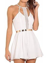 Sommer Kleider Xinan Damen Ärmellos V-Ausschnitt Spitze Overalls Frauen  Mode Rückenfrei Kurz Weste Sommer 2d39733a33