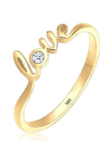 Elli Damen-Ring Love Schriftzug Diamant 0,03 Karat 585 gelbgold (Echter Diamant Ringe Für Damen)