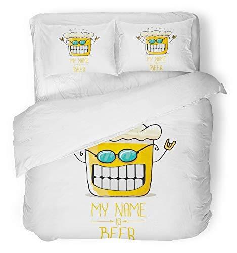LIS HOME 3 Stück Bettbezug-Set atmungsaktiv gebürstet Mikrofaser Stoff Cartoon Funky Bierglas Charakter mit Sonnenbrille Weiß Comic Label Mein Name ist Bettwäsche Set mit 2 Kissenbezüge King Size