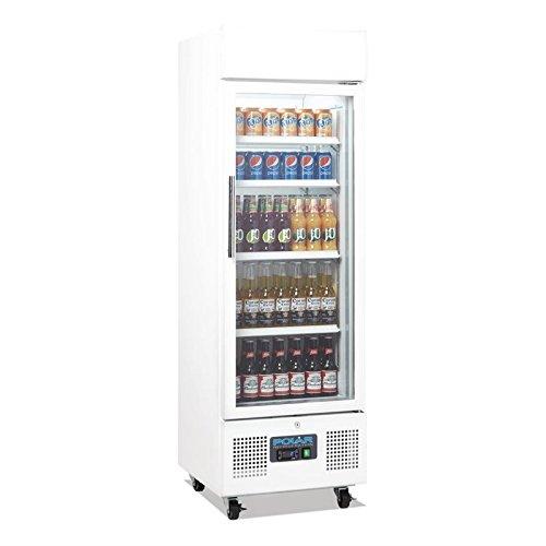 Flaschenkühlschrank, Getränkekühlschrank mit Rollen ideal für Dosen, Bierflaschen und PET Flaschen 220 Liter abschließbar mit Beleuchtung und Umluftkühlung, LED Display