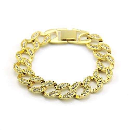 Braccialetto A Catena Bracciale Da Uomo Con Diamanti Bracciale Hip-Hop Stile Braccialetto Placcato Con Diamante Pieno 20 Cm