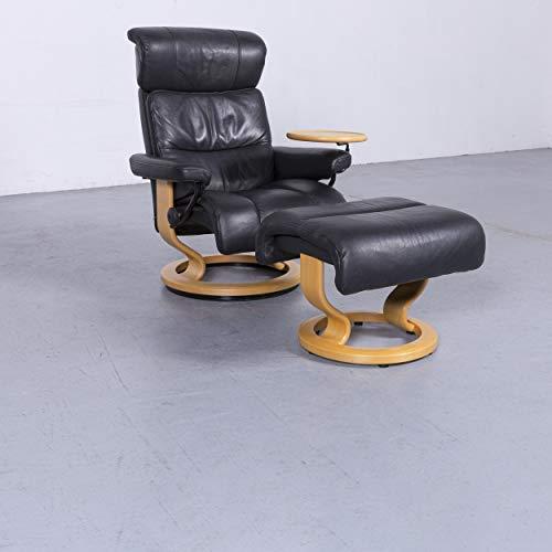 Stressless Designer Leder Sessel Hocker Schwarz Echtleder Stuhl Funktion Relax #5935 Top Zustand