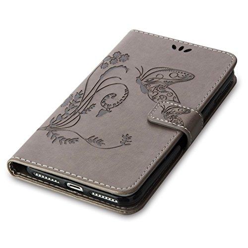 iPhone Case Cover Fleurs en relief motif de papillon en cuir solide étui en cuir flip magnétique couverture de silicone portefeuille stand cas avec une dragonne pour iPhone7 Plus ( Color : Red , Size  Gray
