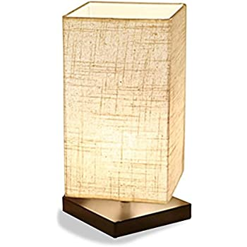 ZEEFO Table Lamp, Bedside Desk Lamp, Solid Wood And Fabric Shade Light For  Bedroom, Living Room, Baby Room (Square)