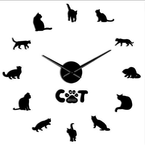 Hyllbb Amerikanisch Kurzhaar Moderne DIY Wanduhr Spiegeleffekt Katzenuhr Kits Zahlen Mit Großer Nadel Katze Haustier Rasse Wanddekor Uhr, 37 Zoll - Mit Zahlen Uhr-kits