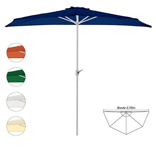 Nexos Sonnenschirm Blau halbrund Ø 2,70 x 1,40m Wandschirm Balkon-Schirm mit Kurbel Polyester 160...