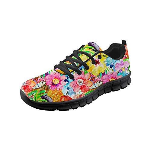 Wrail Unisex Schuhe Turnschuhe mit Motiv Laufschuhe Blumen Graffiti Bequem Sneaker Schnürer Fitness Outdoor Leichte Atmungsaktiv Sneaker Bunte Sportschuhe Freizeitschuhe Pink EU 37 - Blumen-graffiti