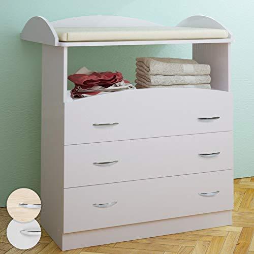 Cambiador para bebés espacioso con 3 cajones 96 x 85 x 71 cm en color de haya y en blanco (Blanco)