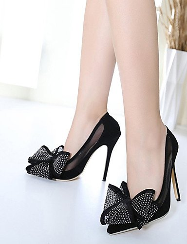 GS~LY Da donna-Tacchi-Casual-Tacchi / A punta-A stiletto-Seta-Nero / Argento black-us7.5 / eu38 / uk5.5 / cn38