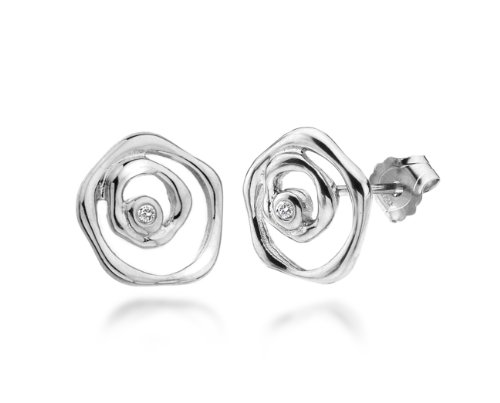 Earring Diamond Stud (Lily and Lotty Damen-Ohrstecker Sterling Diamond Blossom Rose Stud Earrings 925 Silber Diamant (0.02 ct) weiß)