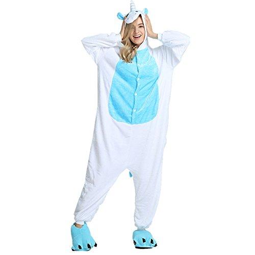 Rainbow Fox Einhorn Pyjama mit Flügel Erwachsene Unisex Tier Nachtwäsche Cosplay Kostüm Flanell Neuheit Kostüm (XL(178-188cm), Blau)