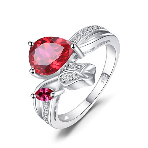 Rose 2.6ct Synthetisch roten Rubin Liebe Promise Ring 925 Sterling Silber Verlobungsringe Größe 51 to 57 (Silber Blumen-ring)