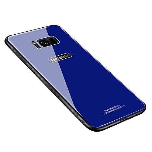 Dqueen-eur Galaxy S8 Plus Hülle, Galaxy S8 Hülle, Doppelschichter Schutz 9H Spiegelglattes Glas Rückseite & Matt Silikon Bumper Stylishe Stoßfeste Handyhülle Schutzhülle Case (Galaxy S8, Blau)