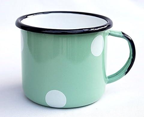DanDiBo Emaille Tasse 501/8 Hellgrün mit weißen Punkten 0,28 L Becher emailliert 8 cm Kaffeebecher