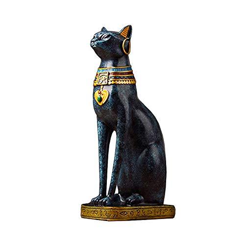 tische Göttinstatue Göttin Bastet Bast-Statue der schwarzen Katze Innenausstattung aus Harz Bar Cafe Bedside TV Cabinet Zubehör,Blue ()