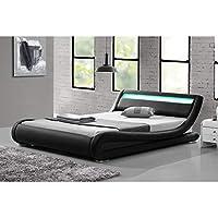mon usine discount lestella structure de lit simili noir avec led intgres - Lit 160x200 Avec Led