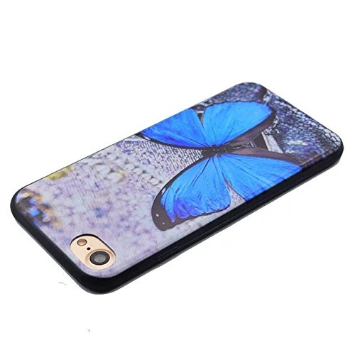 Etsue pour iPhone SE/5/5S Coque de Téléphone,Mode Doux TPU Case Housse pour iPhone SE/5/5S,Sur Fond Noir [Lune] Motif Soft Silicone Case étui shell pour iPhone SE/5/5S + 1x Bleu style + 1x Bling pouss Papillon Bleu