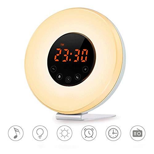 KIOio Despertador Inteligente con luz de Despertador, Reloj con Radio Touch FM Radio, Simulación de Sonido Natural con Sonido, Función de repetición