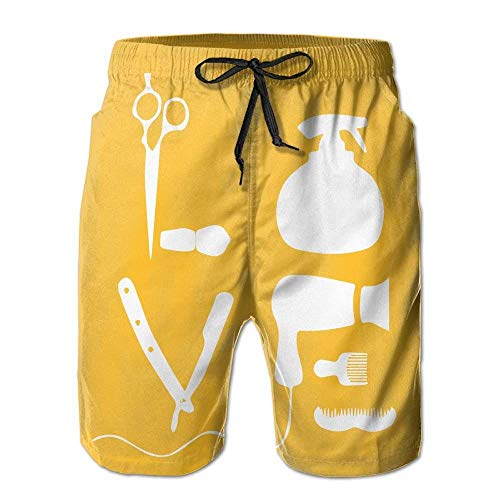 Beach Yoga Pants, Haircut Art Yellow Yoga Workout Shorts for Men Boys, Outdoor Short Pants Beach Accessories,Size:XL Navy Blue Corduroy Pants