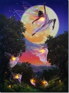 Princess / Fairies Flying In Enchanted Forest Led Light Up Canvas