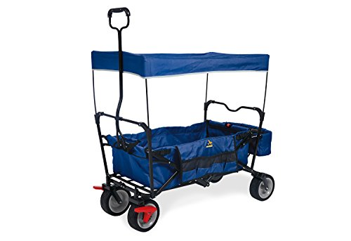 Pinolino Klappbollerwagen Paxi dlx mit Bremse, faltbar, inkl. Sonnendach und Tragetasche, Tragfähigkeit 70 kg, blau